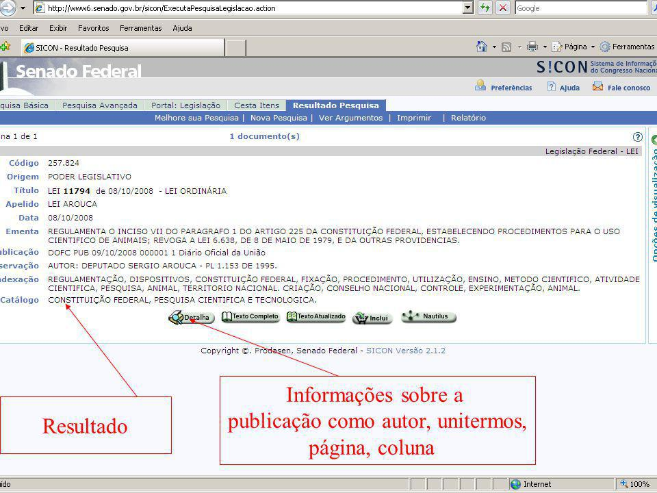 Resultado Informações sobre a publicação como autor, unitermos, página, coluna