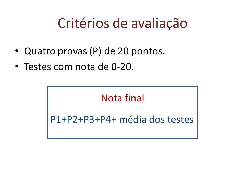 Critérios de avaliação Quatro provas (P) de 20 pontos.