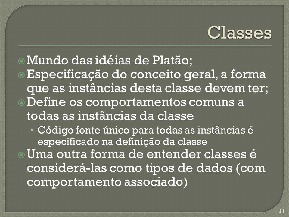 Mundo das idéias de Platão; Especificação do conceito geral, a forma que as instâncias desta classe devem ter; Define os comportamentos comuns a todas