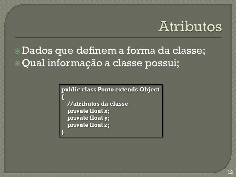 Dados que definem a forma da classe; Qual informação a classe possui; 12 public class Ponto extends Object { //atributos da classe private float x; pr