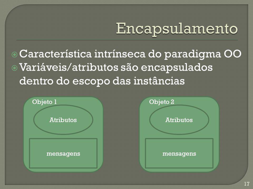 Característica intrínseca do paradigma OO Variáveis/atributos são encapsulados dentro do escopo das instâncias 17 mensagens Atributos mensagens Atribu