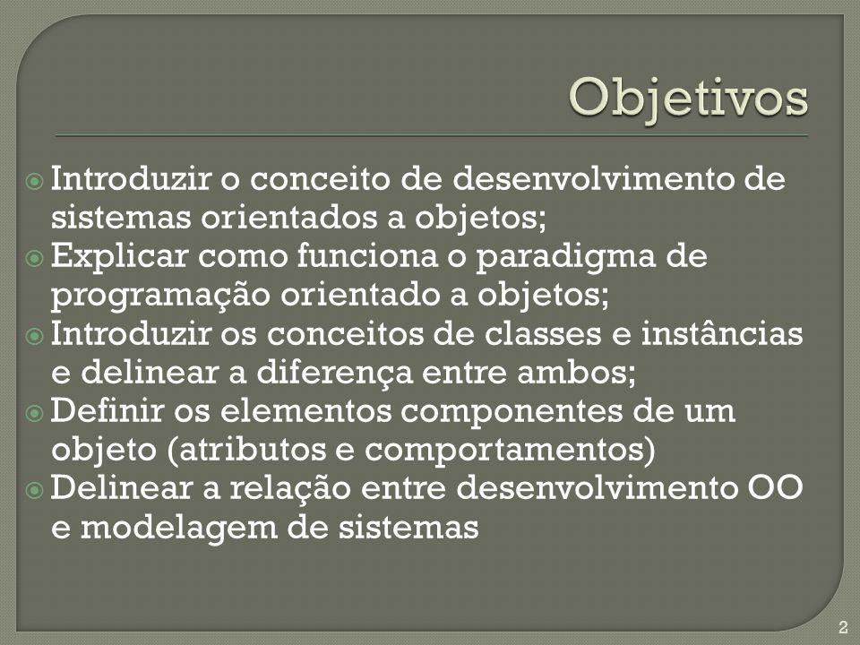 Introduzir o conceito de desenvolvimento de sistemas orientados a objetos; Explicar como funciona o paradigma de programação orientado a objetos; Intr