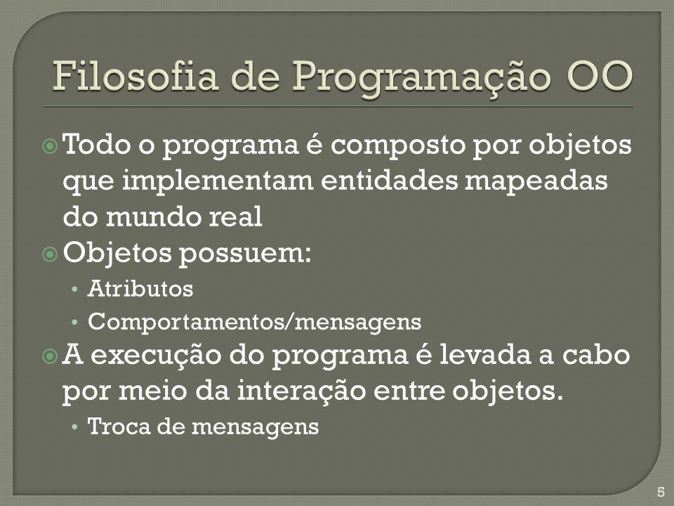 São realizações do conceito definido pela classe Ex: um cavalo específico com cor, tipo de crina, etc, definidos 16 public class TestePonto{ public static void main(String[] args) { Ponto p = new Ponto(); Ponto p2 = new Ponto(1,2,3); p.setponto(10, 20, 30); p.printIt(); p2.printIt(); System.out.println( Hello world! ); } public class TestePonto{ public static void main(String[] args) { Ponto p = new Ponto(); Ponto p2 = new Ponto(1,2,3); p.setponto(10, 20, 30); p.printIt(); p2.printIt(); System.out.println( Hello world! ); }
