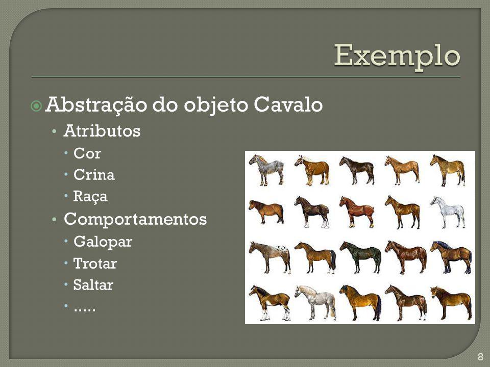 Abstração do objeto Cavalo Atributos Cor Crina Raça Comportamentos Galopar Trotar Saltar..... 8
