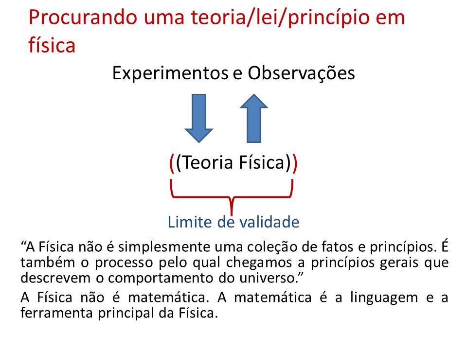Procurando uma teoria/lei/princípio em física Experimentos e Observações (Teoria Física) ( ) Limite de validade A Física não é simplesmente uma coleçã