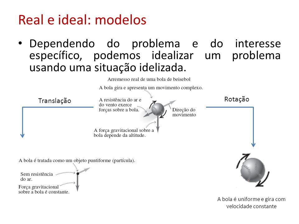 Real e ideal: modelos Dependendo do problema e do interesse específico, podemos idealizar um problema usando uma situação idelizada. Translação Rotaçã