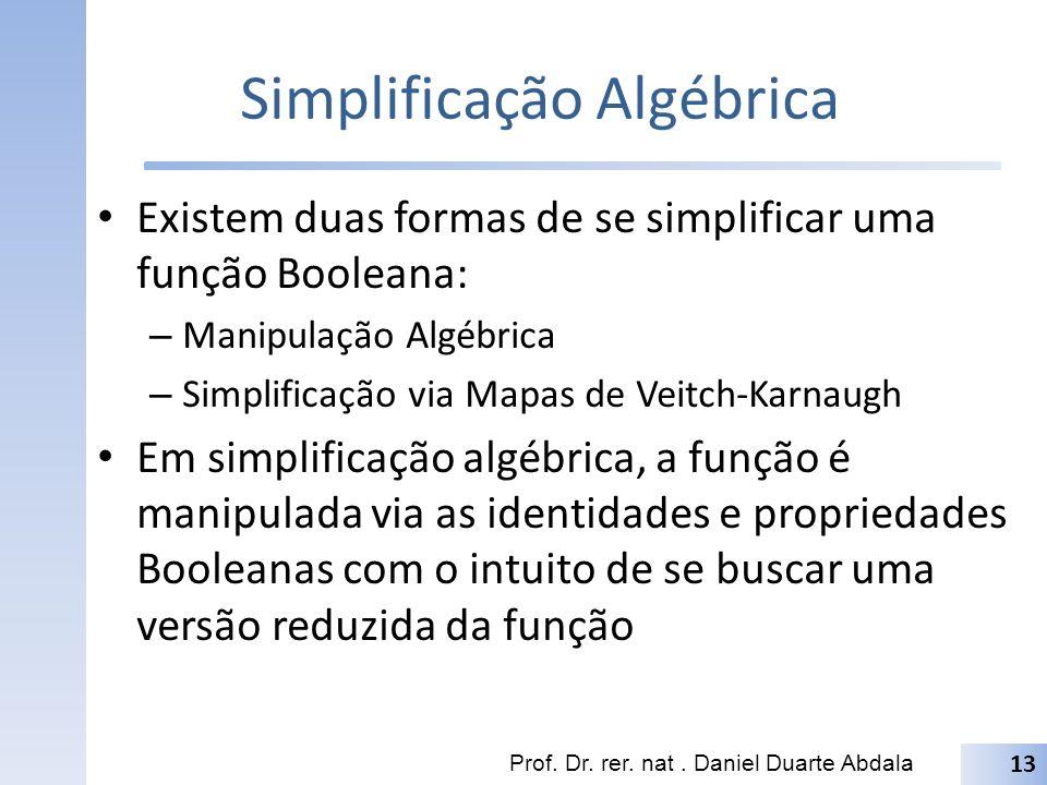 Simplificação Algébrica Existem duas formas de se simplificar uma função Booleana: – Manipulação Algébrica – Simplificação via Mapas de Veitch-Karnaug