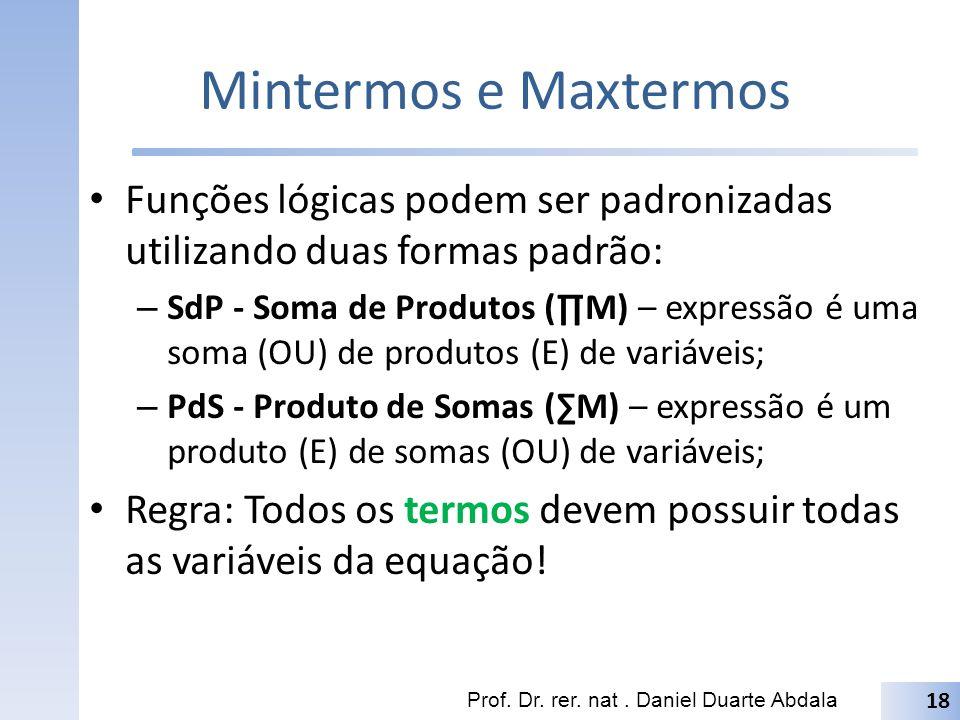 Mintermos e Maxtermos Funções lógicas podem ser padronizadas utilizando duas formas padrão: – SdP - Soma de Produtos (M) – expressão é uma soma (OU) d