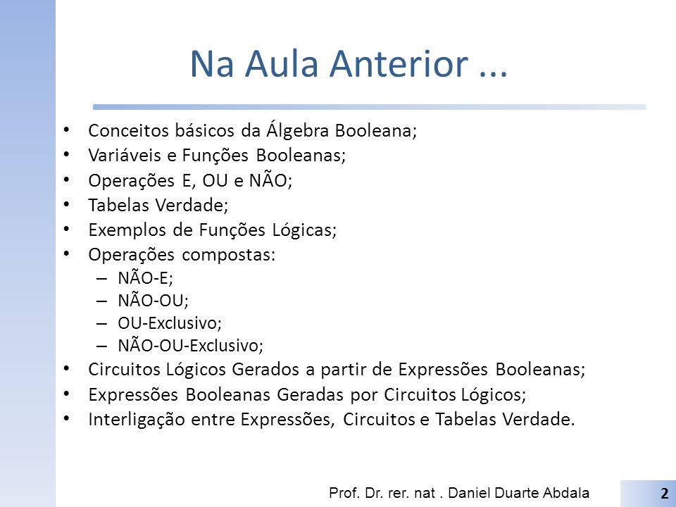 Na Aula Anterior... Conceitos básicos da Álgebra Booleana; Variáveis e Funções Booleanas; Operações E, OU e NÃO; Tabelas Verdade; Exemplos de Funções