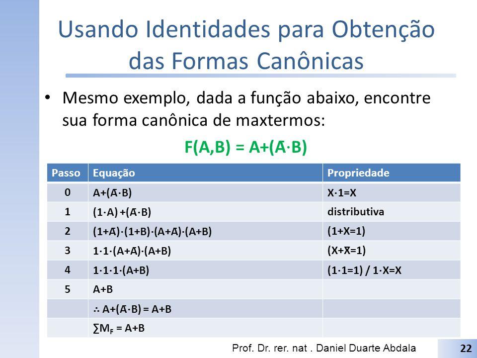 Usando Identidades para Obtenção das Formas Canônicas Mesmo exemplo, dada a função abaixo, encontre sua forma canônica de maxtermos: F(A,B) = A+(Ā B)