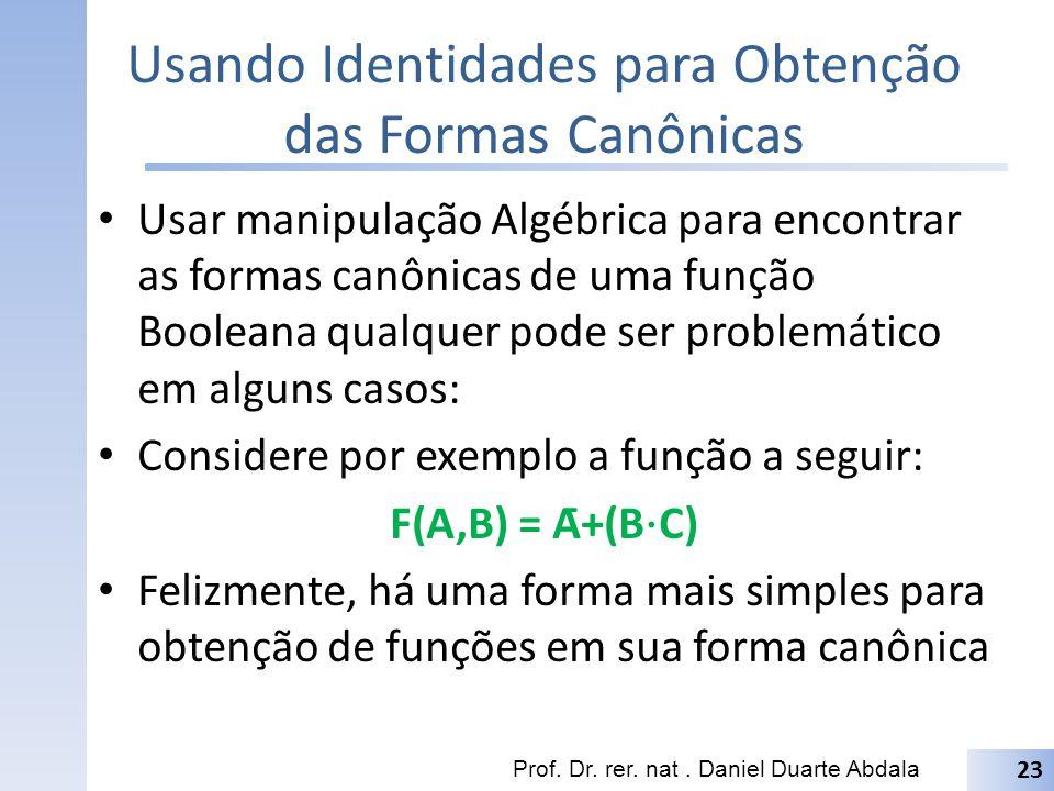 Usando Identidades para Obtenção das Formas Canônicas Usar manipulação Algébrica para encontrar as formas canônicas de uma função Booleana qualquer po