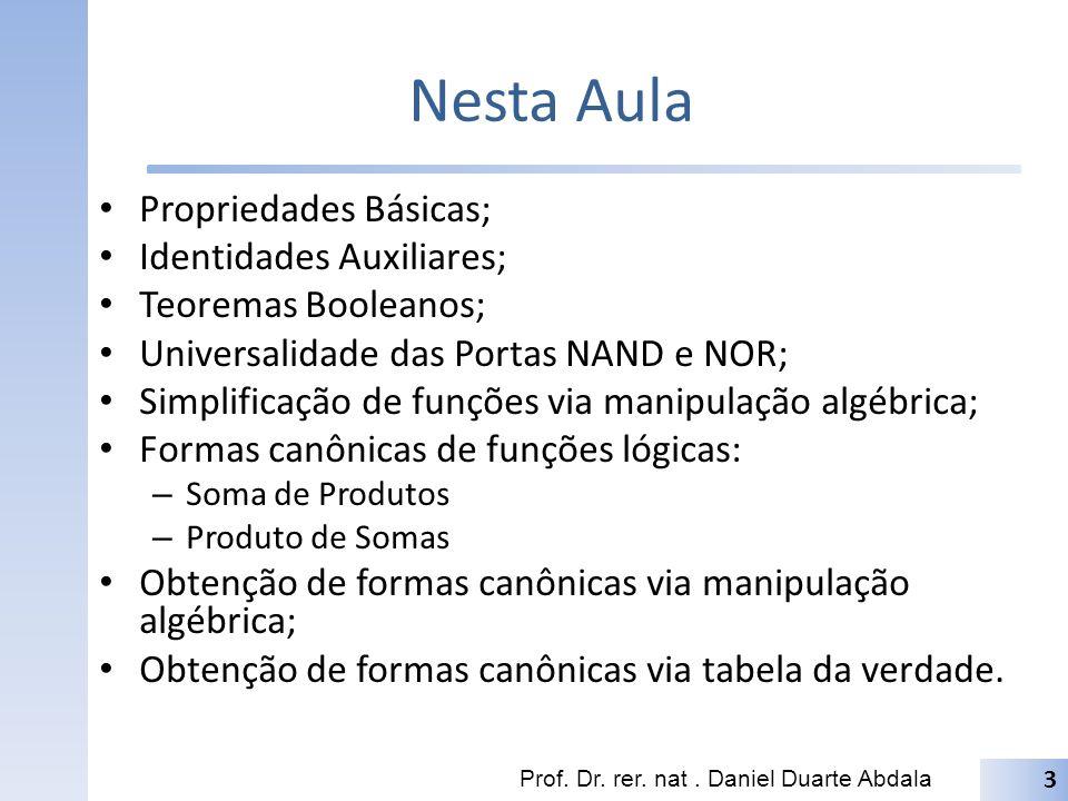 Nesta Aula Propriedades Básicas; Identidades Auxiliares; Teoremas Booleanos; Universalidade das Portas NAND e NOR; Simplificação de funções via manipu