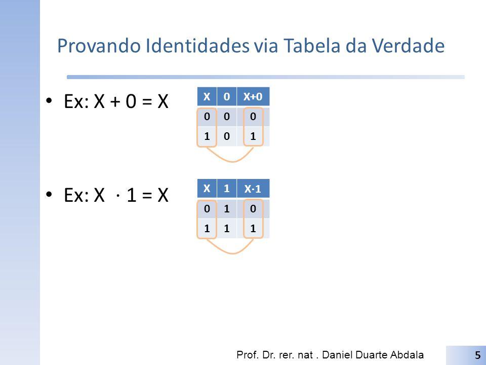 Provando Identidades via Tabela da Verdade Ex: X + 0 = X Ex: X 1 = X Prof. Dr. rer. nat. Daniel Duarte Abdala 5 X0X+0 000 101 X1 X 1 010 111