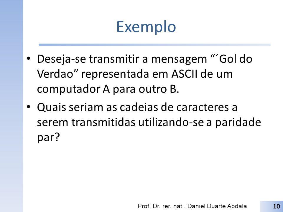 Exemplo CaractereCod.ASCIIASCII com par.
