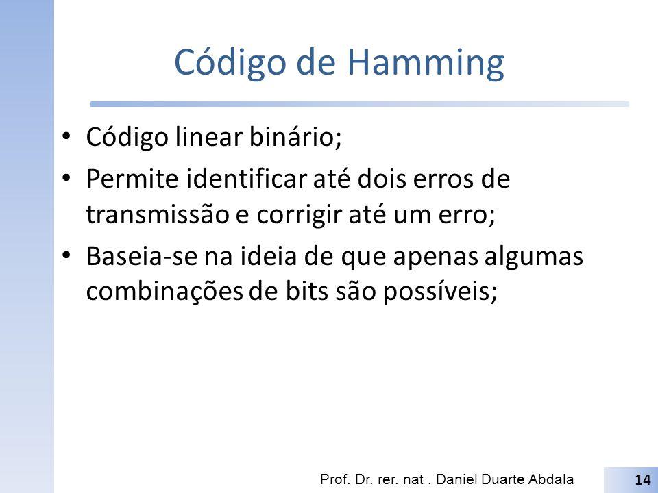 Hamming(7,4) No código Hamming(7,4), 7 bits são usados sendo 3 para paridade e 4 para dados; Dado uma mensagem d 1 d 2 d 3 d 4 formamos a mensagem de Hamming(7,4) alocando para cada uma das posições correspondentes as potências de 2 (1,2,4,8,16,...) os bits de paridade, tal como mostrado na figura abaixo: Os bits x 1...x 7 correspondem a mensagem codificada em Hamming(7,4) Prof.