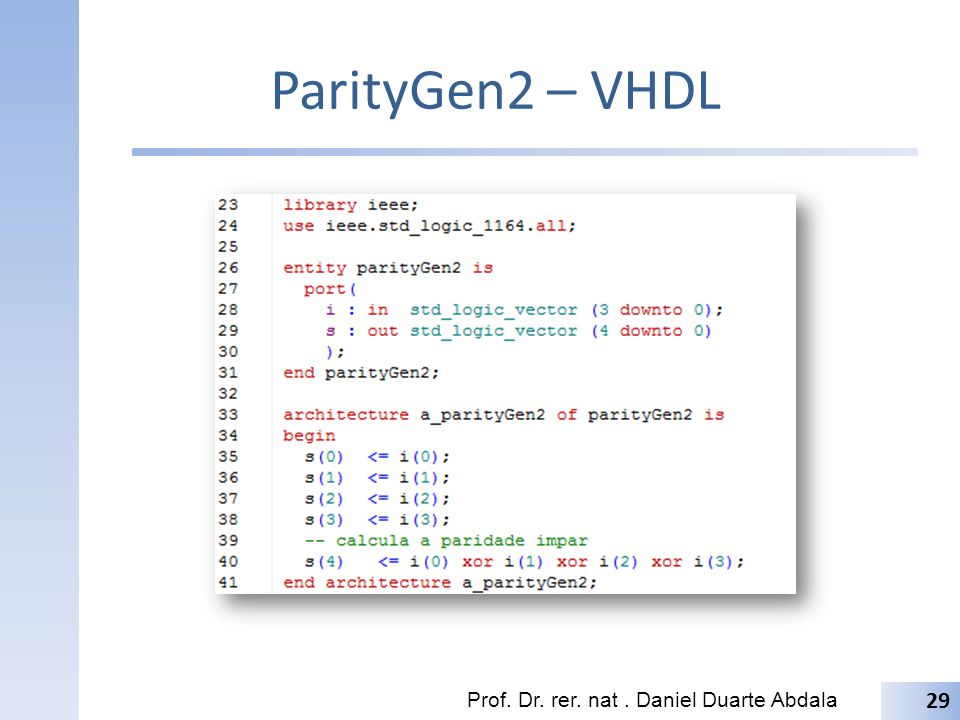 ParityGen3 – VHDL Prof. Dr. rer. nat. Daniel Duarte Abdala 30
