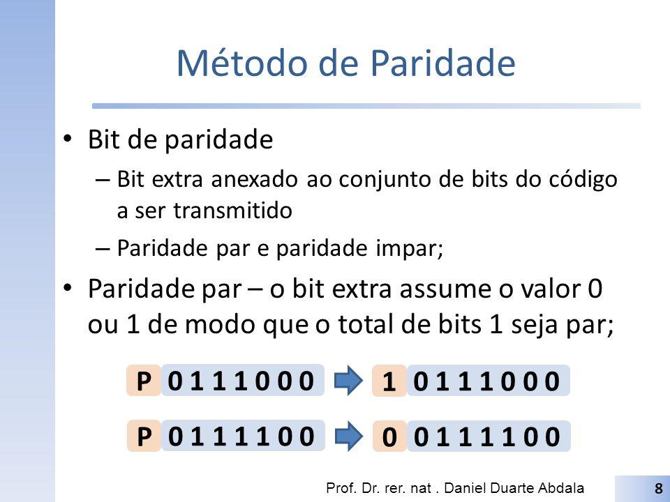 Método de Paridade Paridade impar – o bit extra assume o valor 0 ou 1 de modo que o total de bits 1 seja impar; Prof.