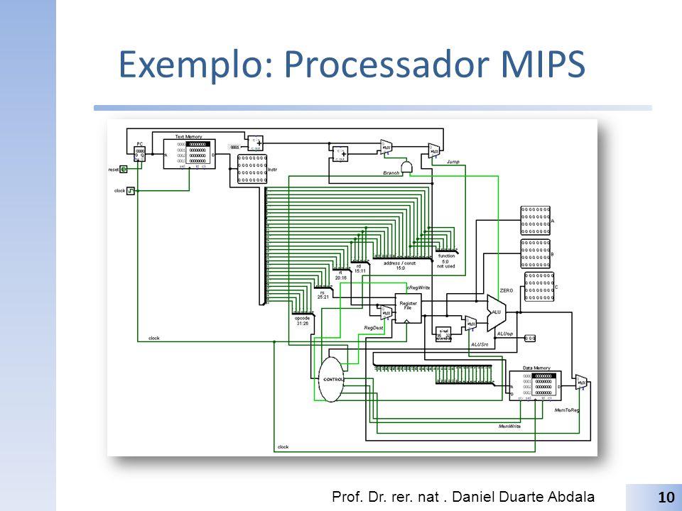 Exemplo: Processador MIPS Prof. Dr. rer. nat. Daniel Duarte Abdala 10