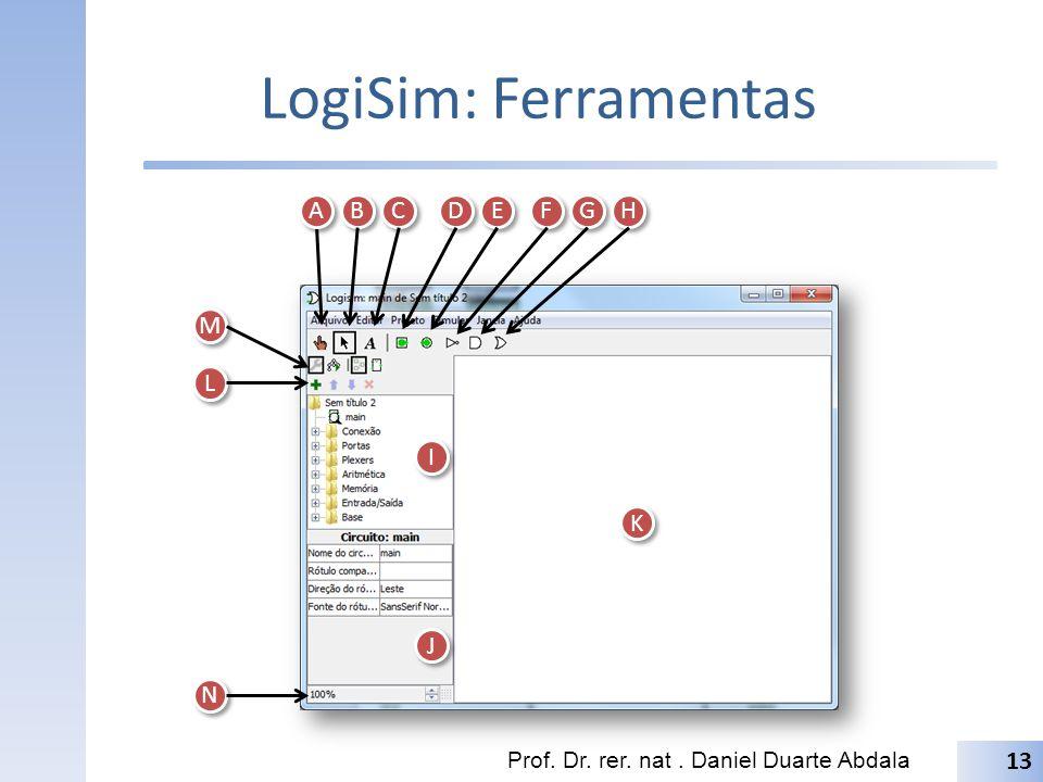 LogiSim: Ferramentas Prof. Dr. rer. nat. Daniel Duarte Abdala 13 A A B B C C D D E E F F G G H H I I J J K K L L M M N N