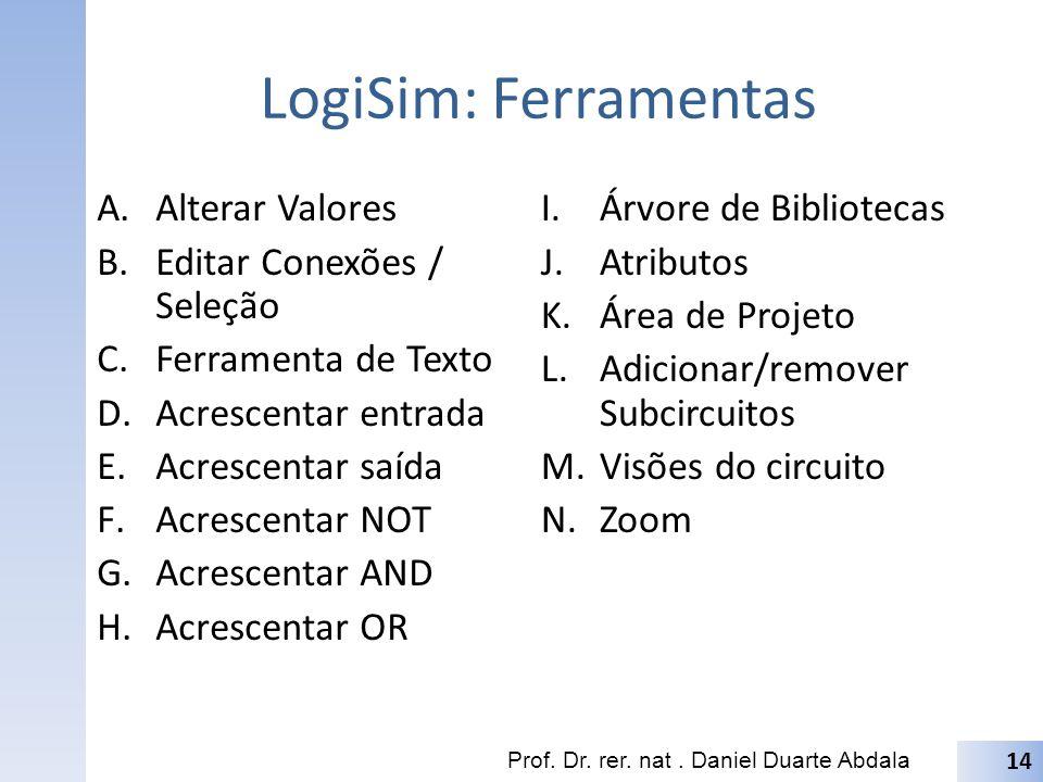 LogiSim: Ferramentas A.Alterar Valores B.Editar Conexões / Seleção C.Ferramenta de Texto D.Acrescentar entrada E.Acrescentar saída F.Acrescentar NOT G