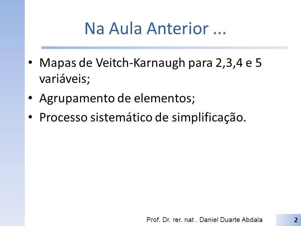 Na Aula Anterior... Mapas de Veitch-Karnaugh para 2,3,4 e 5 variáveis; Agrupamento de elementos; Processo sistemático de simplificação. Prof. Dr. rer.