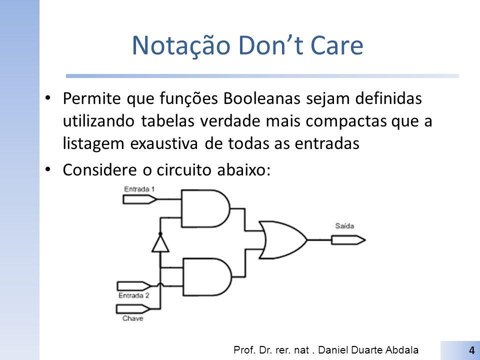 Notação Dont Care Permite que funções Booleanas sejam definidas utilizando tabelas verdade mais compactas que a listagem exaustiva de todas as entrada