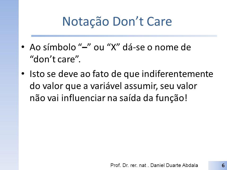 Notação Dont Care Ao símbolo – ou X dá-se o nome de dont care. Isto se deve ao fato de que indiferentemente do valor que a variável assumir, seu valor