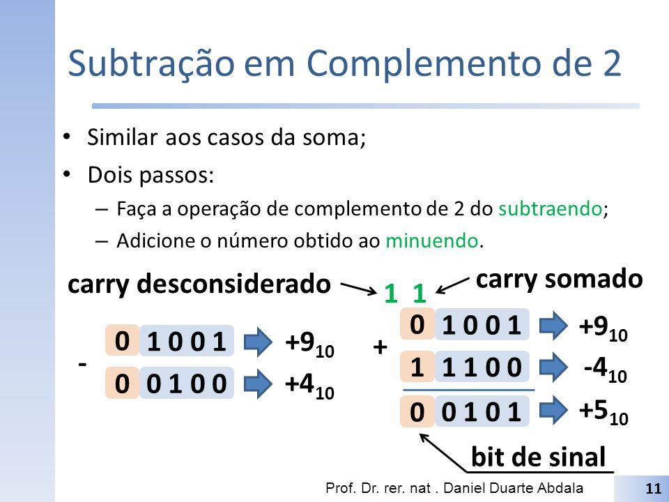 Subtração em Complemento de 2 Similar aos casos da soma; Dois passos: – Faça a operação de complemento de 2 do subtraendo; – Adicione o número obtido ao minuendo.