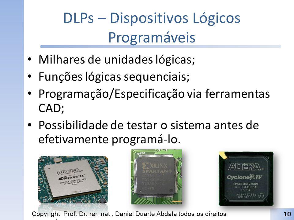 DLPs – Dispositivos Lógicos Programáveis Milhares de unidades lógicas; Funções lógicas sequenciais; Programação/Especificação via ferramentas CAD; Pos