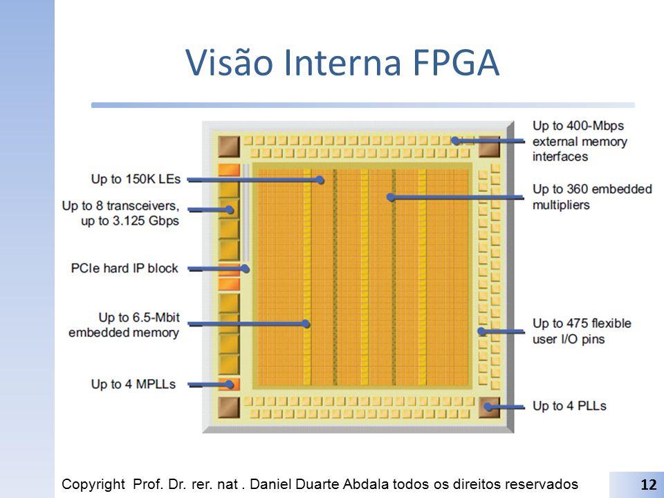 Visão Interna FPGA Copyright Prof. Dr. rer. nat. Daniel Duarte Abdala todos os direitos reservados 12