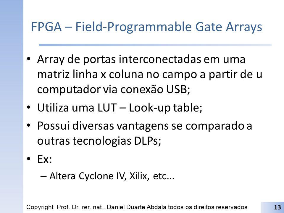 FPGA – Field-Programmable Gate Arrays Array de portas interconectadas em uma matriz linha x coluna no campo a partir de u computador via conexão USB;