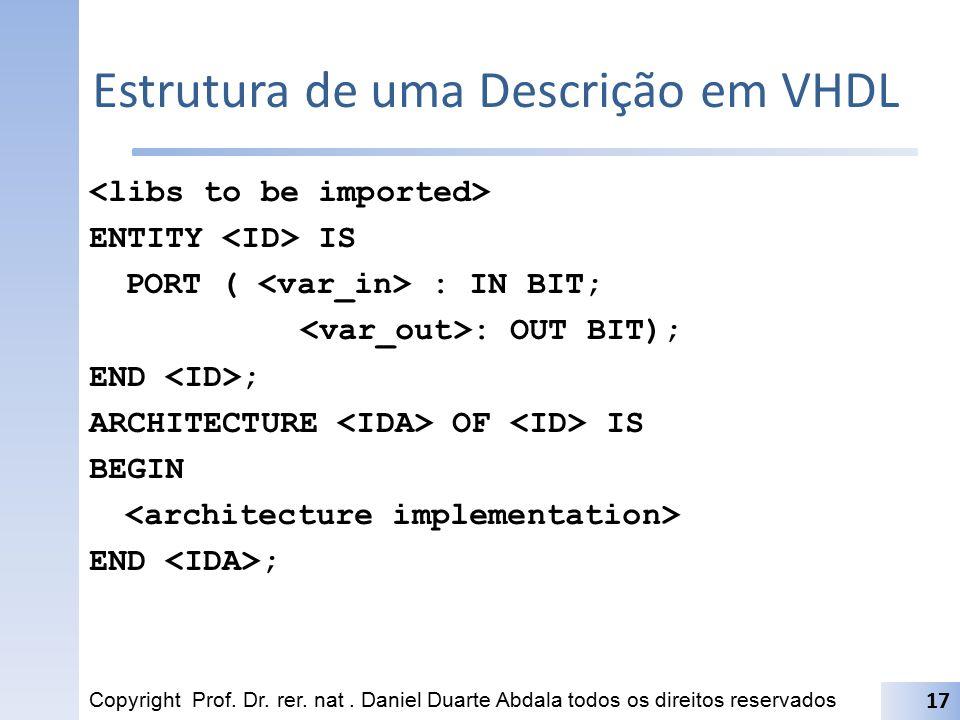 Estrutura de uma Descrição em VHDL ENTITY IS PORT ( : IN BIT; : OUT BIT); END ; ARCHITECTURE OF IS BEGIN END ; Copyright Prof. Dr. rer. nat. Daniel Du
