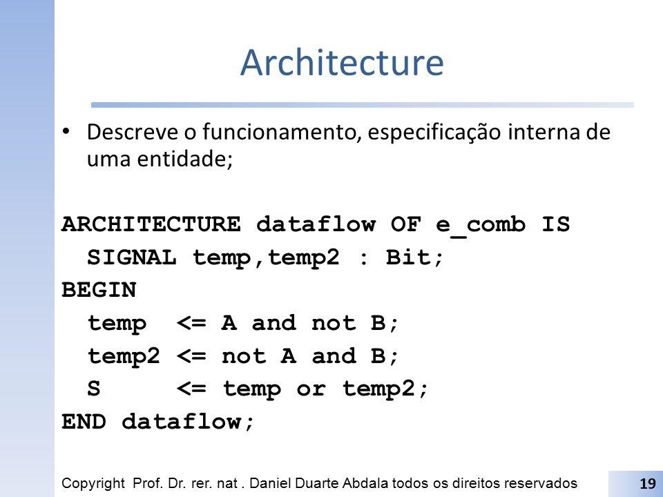 Architecture Descreve o funcionamento, especificação interna de uma entidade; ARCHITECTURE dataflow OF e_comb IS SIGNAL temp,temp2 : Bit; BEGIN temp <
