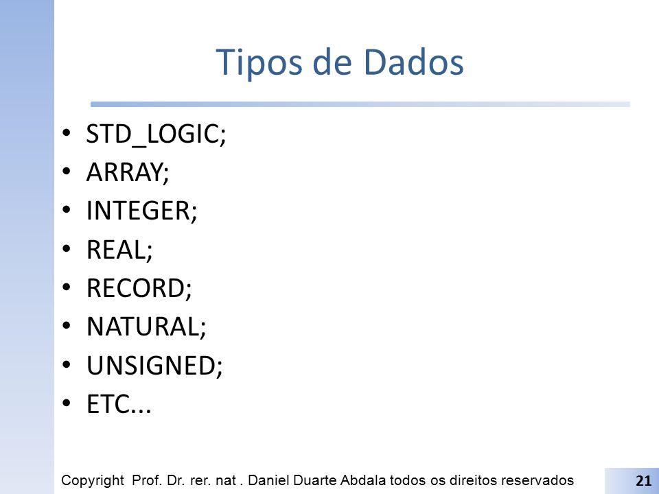 Tipos de Dados STD_LOGIC; ARRAY; INTEGER; REAL; RECORD; NATURAL; UNSIGNED; ETC... Copyright Prof. Dr. rer. nat. Daniel Duarte Abdala todos os direitos