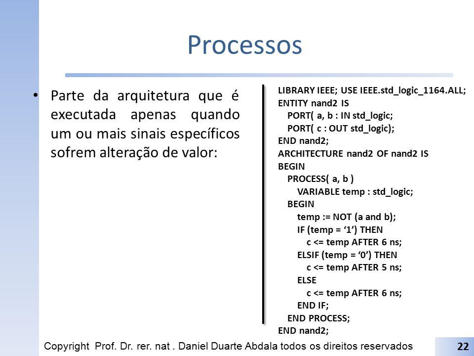 Processos Parte da arquitetura que é executada apenas quando um ou mais sinais específicos sofrem alteração de valor: Copyright Prof. Dr. rer. nat. Da