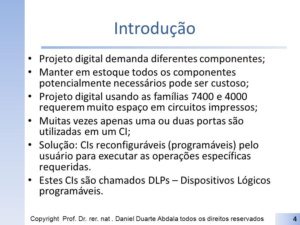 Introdução Projeto digital demanda diferentes componentes; Manter em estoque todos os componentes potencialmente necessários pode ser custoso; Projeto
