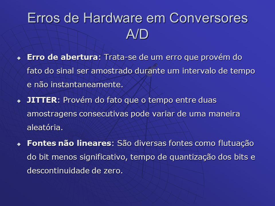 Erros de Hardware em Conversores A/D Erro de abertura: Trata-se de um erro que provém do fato do sinal ser amostrado durante um intervalo de tempo e n