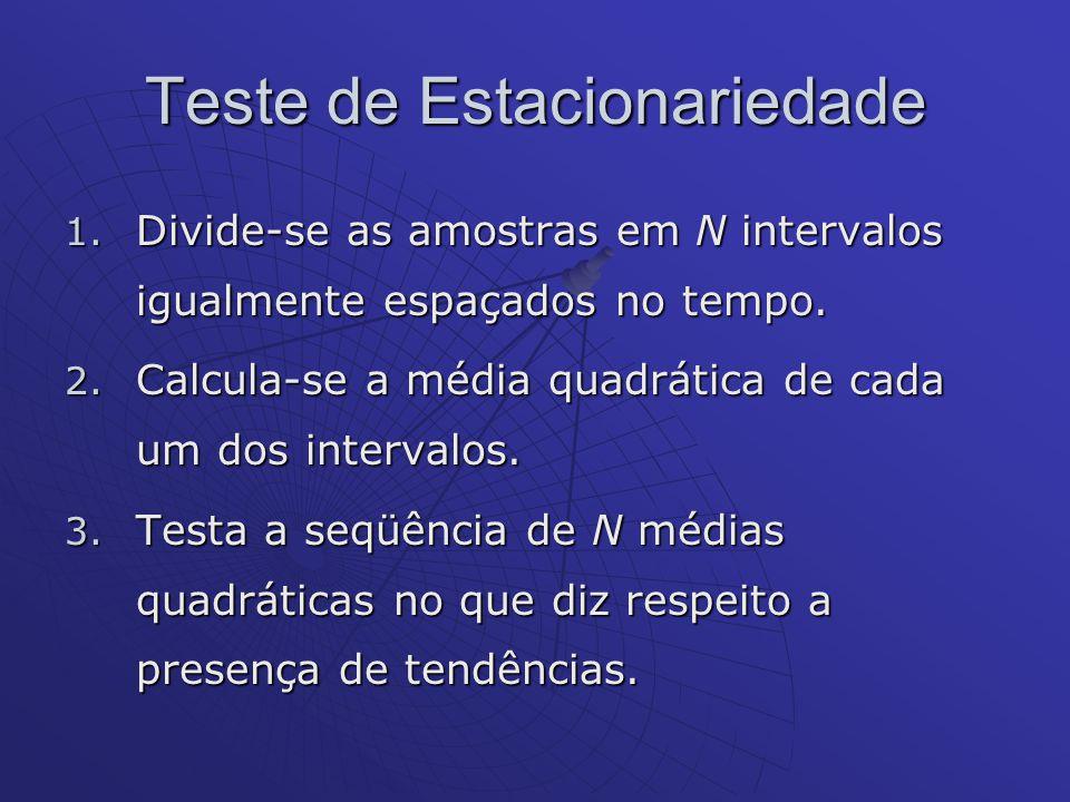 Teste de Estacionariedade 1. Divide-se as amostras em N intervalos igualmente espaçados no tempo. 2. Calcula-se a média quadrática de cada um dos inte