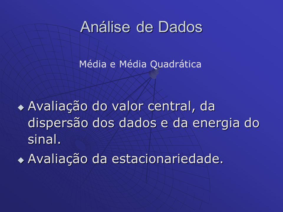 Análise de Dados Avaliação do valor central, da dispersão dos dados e da energia do sinal. Avaliação do valor central, da dispersão dos dados e da ene
