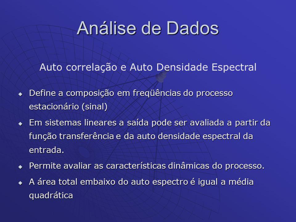 Análise de Dados Auto correlação e Auto Densidade Espectral Define a composição em freqüências do processo estacionário (sinal) Define a composição em