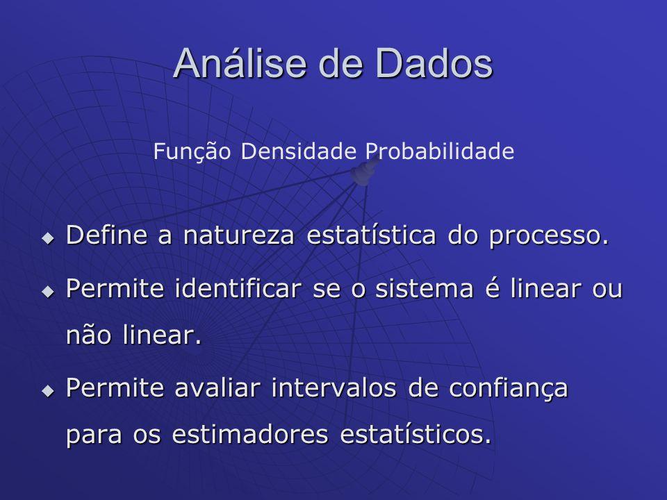 Análise de Dados Função Densidade Probabilidade Define a natureza estatística do processo. Define a natureza estatística do processo. Permite identifi
