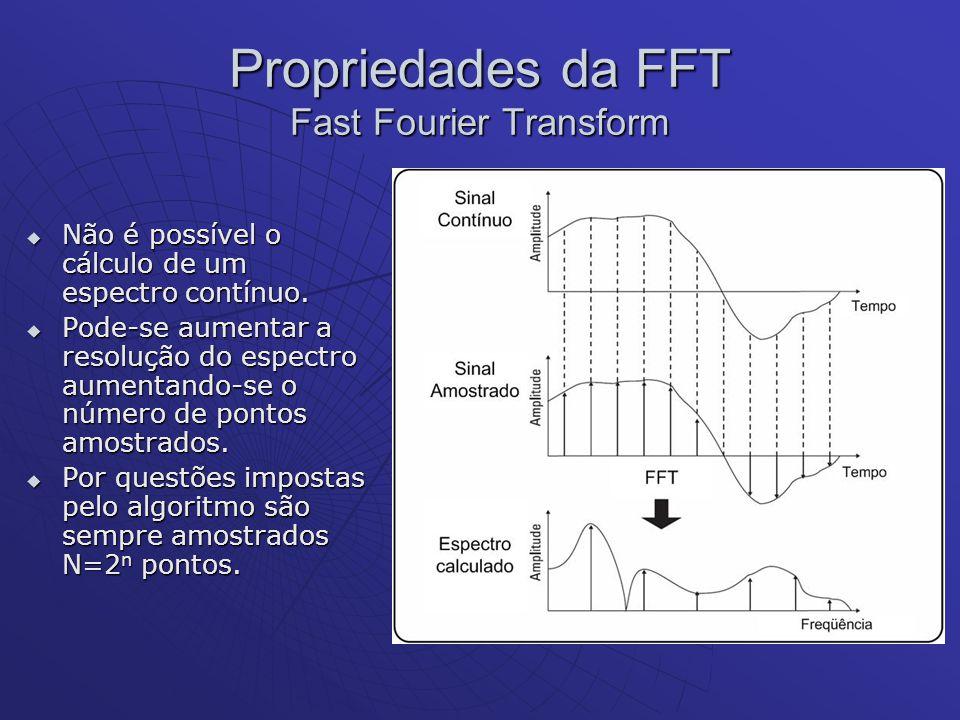Propriedades da FFT Fast Fourier Transform Não é possível o cálculo de um espectro contínuo. Não é possível o cálculo de um espectro contínuo. Pode-se