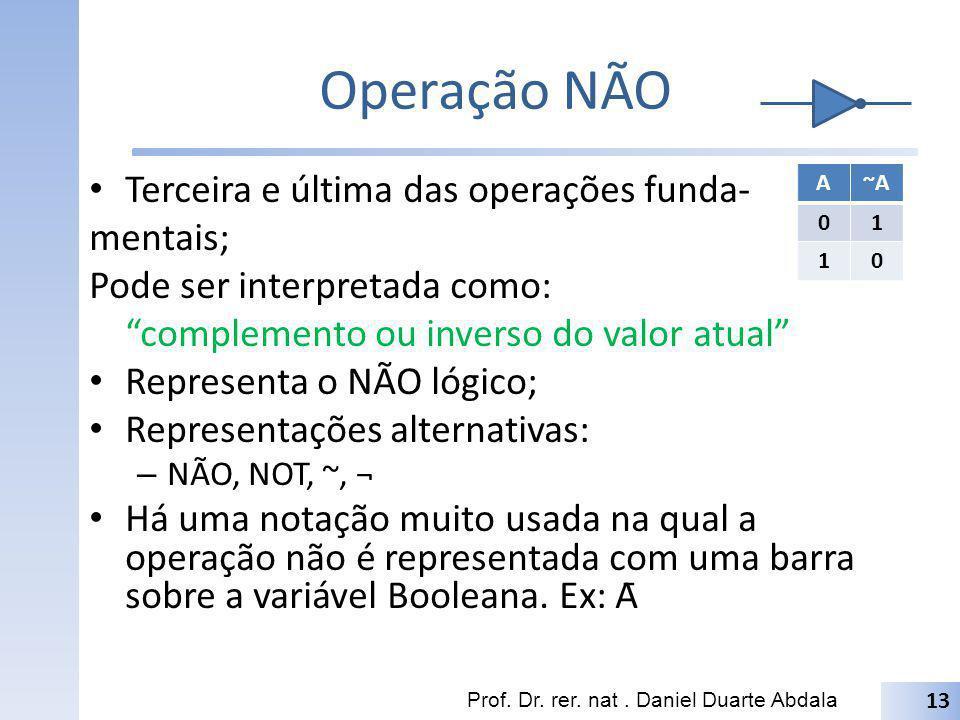 Operação NÃO Terceira e última das operações funda- mentais; Pode ser interpretada como: complemento ou inverso do valor atual Representa o NÃO lógico