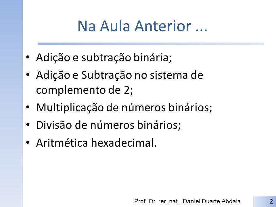Na Aula Anterior... Adição e subtração binária; Adição e Subtração no sistema de complemento de 2; Multiplicação de números binários; Divisão de númer
