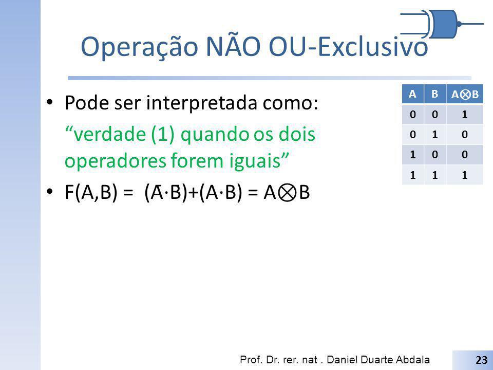 Operação NÃO OU-Exclusivo Pode ser interpretada como: verdade (1) quando os dois operadores forem iguais F(A,B) = (Ā B̄)+(A B) = A B Prof. Dr. rer. n