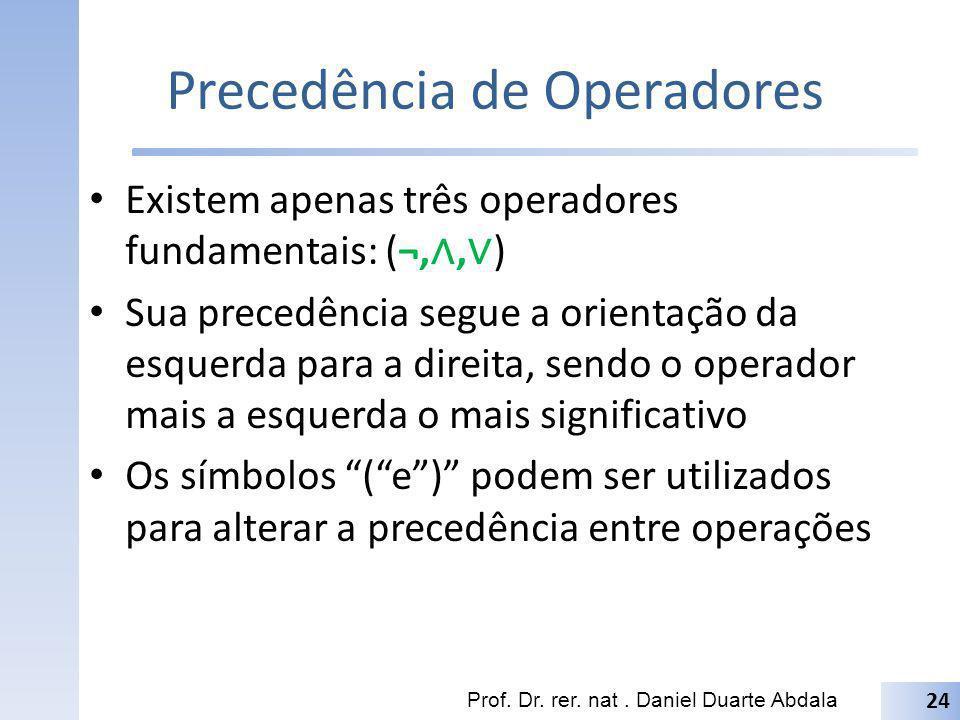 Precedência de Operadores Existem apenas três operadores fundamentais: (¬,, ) Sua precedência segue a orientação da esquerda para a direita, sendo o o