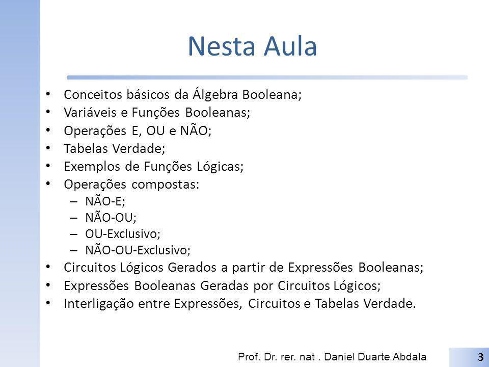 Nesta Aula Conceitos básicos da Álgebra Booleana; Variáveis e Funções Booleanas; Operações E, OU e NÃO; Tabelas Verdade; Exemplos de Funções Lógicas;