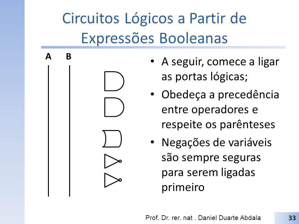 Circuitos Lógicos a Partir de Expressões Booleanas Prof. Dr. rer. nat. Daniel Duarte Abdala 33 A B. A seguir, comece a ligar as portas lógicas; Obedeç