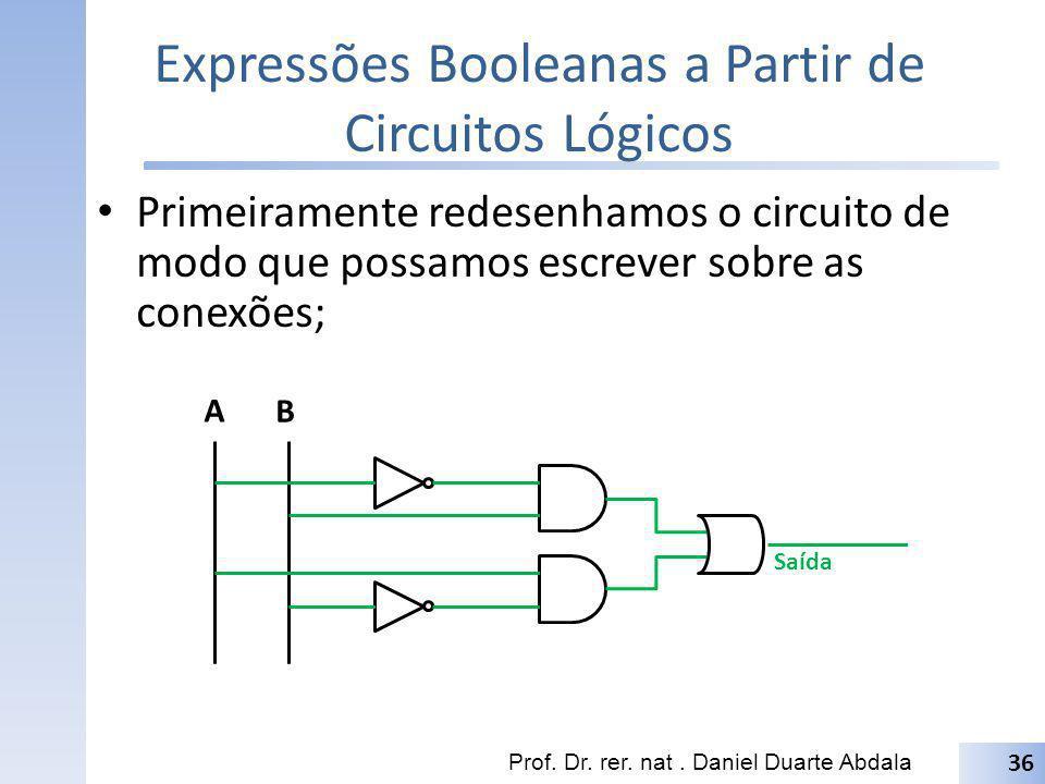 Expressões Booleanas a Partir de Circuitos Lógicos Prof. Dr. rer. nat. Daniel Duarte Abdala 36 Primeiramente redesenhamos o circuito de modo que possa