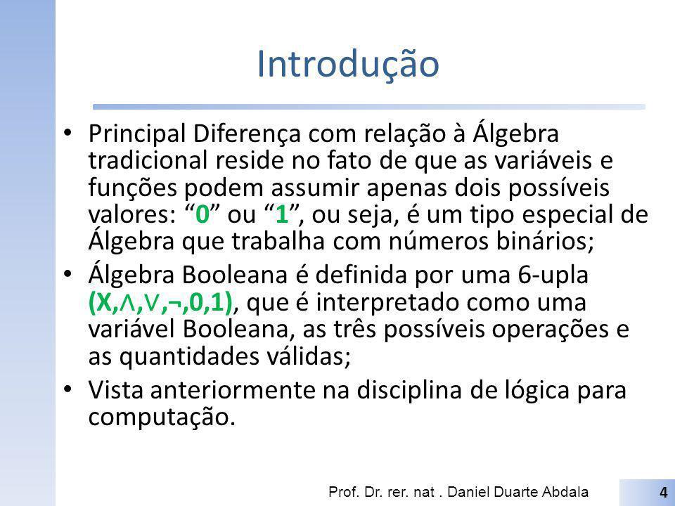Introdução Principal Diferença com relação à Álgebra tradicional reside no fato de que as variáveis e funções podem assumir apenas dois possíveis valo